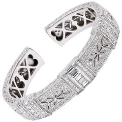 Judith Ripka Wide Diamond Cuff Bracelet 18 Karat White Gold