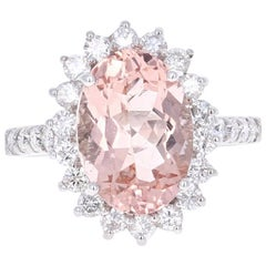 5.57 Carat Oval Cut Morganite Diamond White Gold Ring