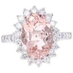 5.57 Carat Oval Cut Morganite Diamond White Gold Ring