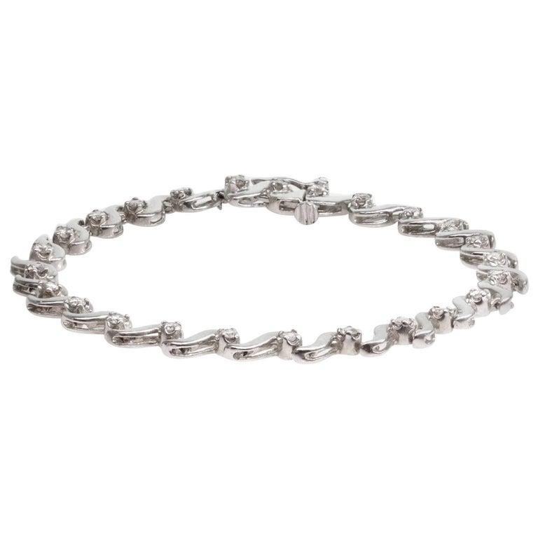 Solitaire Diamond White Gold Link Tennis Bracelet