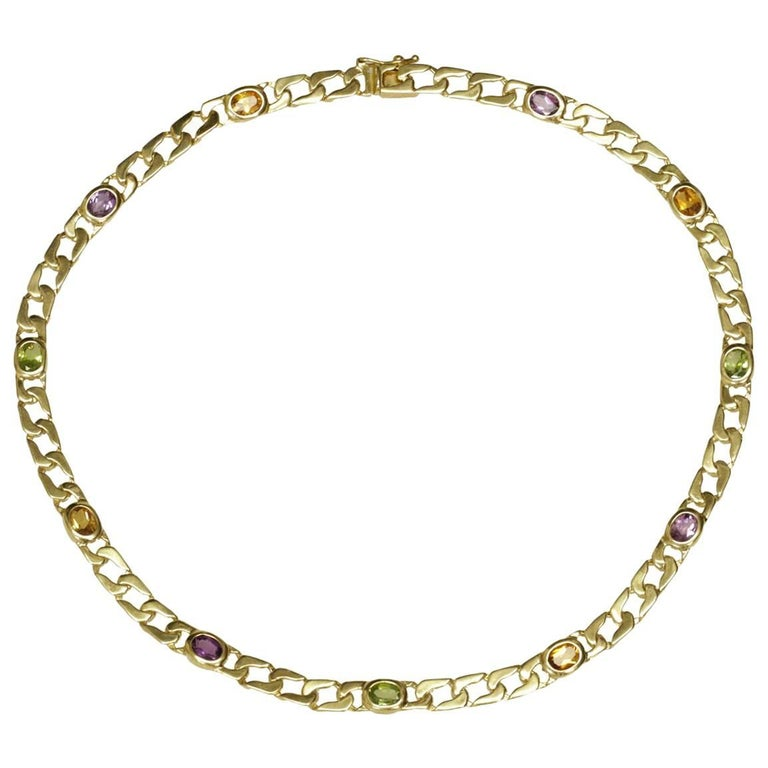 Multi-Color Gemstone Yellow Gold Curb Chain Necklace