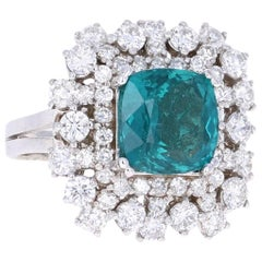 7.02 Carat Apatite Diamond White Gold Cocktail Ring