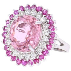 9.87 Carat Pink Sapphire Tourmaline Diamond White Gold Cocktail Ring