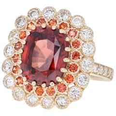 9.98 Carat Orange Sapphire Tourmaline Diamond Yellow Gold Cocktail Ring