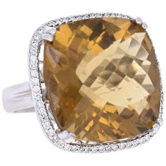 28.14 Carat Whiskey Quartz Diamond White Gold Cocktail Ring