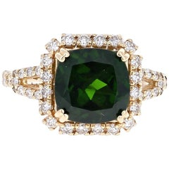 5.05 Carat Chrome Diopside Diamond Yellow Gold Cocktail Ring