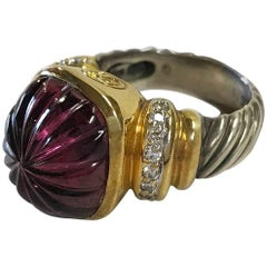 David Yurman Gold and Silver Ring, Purple Fantasy Antique Cut Amethyst