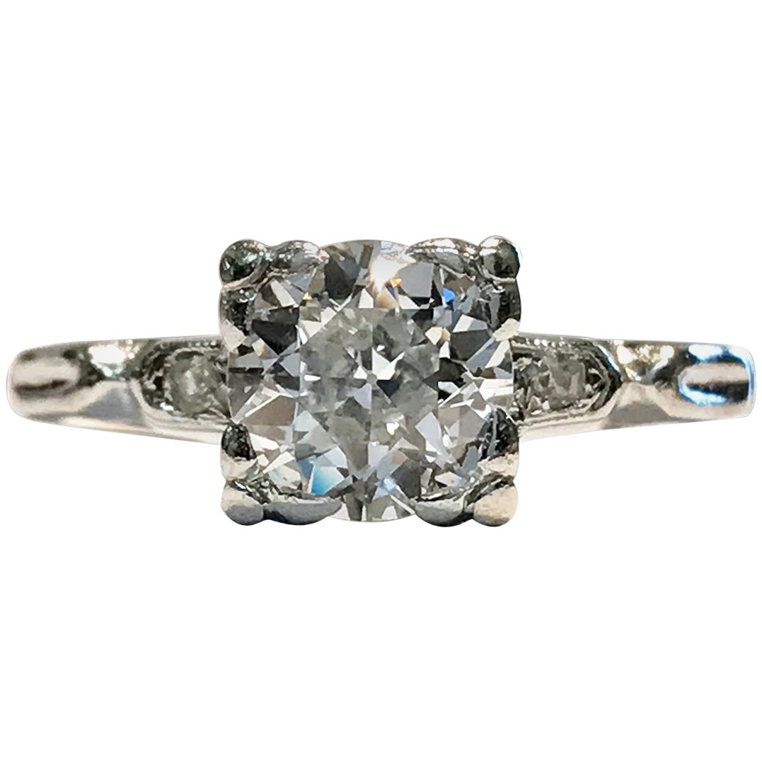 Vintage Diamond Platinum Engagement Ring, 1 Carat