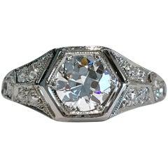 Art Deco Platinum Hexagonal Diamond Ring