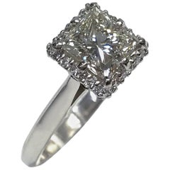 Tacori Platinum Diamond Halo Engagement Ring, 1.59 Carat, GIA Certified