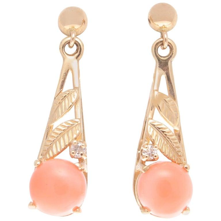 Coral Diamond Gold Drop Earrings