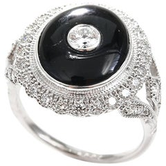 Onyx Diamond Art Deco Style 18 Carat White Gold Dress Ring