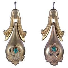 Antique Victorian Drop Earrings 18 Carat Gold Pinchbeck, circa 1870