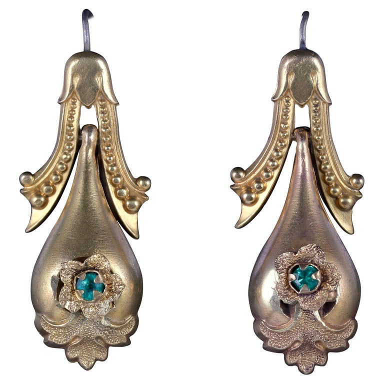 Antique Victorian Drop Earrings 18 Carat Gold Pinchbeck, circa 1870