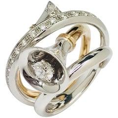 Matsuzaki Round Diamond Horn Design Ring Arabesque Engraving Chisel Carving