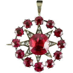 Antique Victorian Star Pendant Brooch Ruby Diamond Gold, circa 1900
