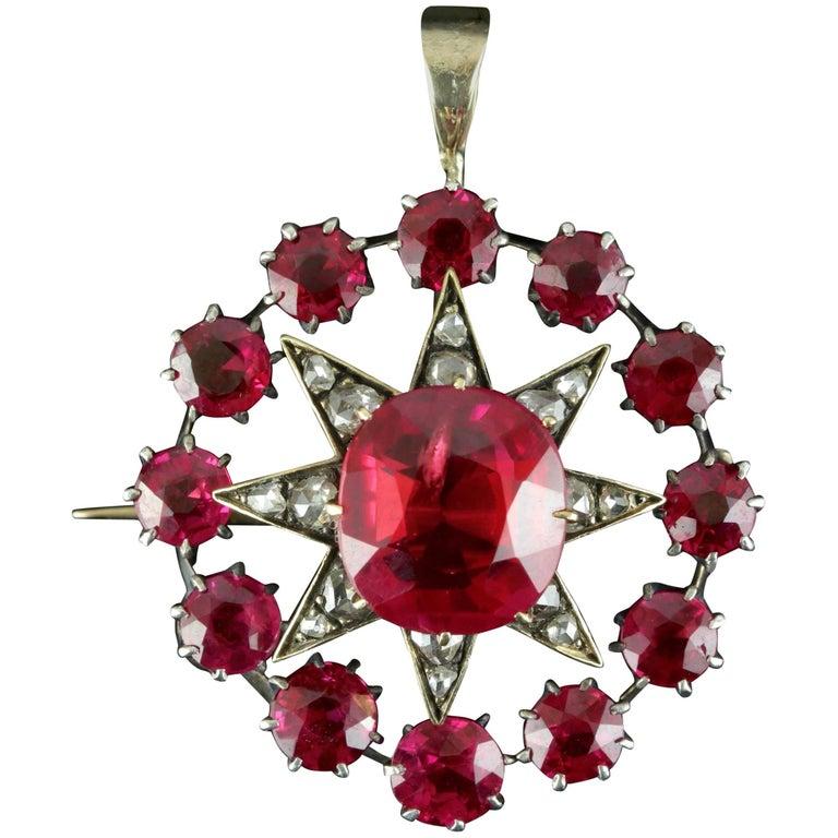 Antique Victorian Star Pendant Brooch Ruby Diamond Gold, circa 1900