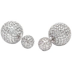 8.50 Carat Round Brilliant Micro Set 18Karat White Gold Diamond Sphere Earrings