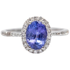 IGR Certified 1.25 CT Oval Tanzanite 0.30 CT Diamond 18 KT Gold Engagement Ring