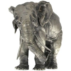 Elephant Sculpture in Silver