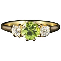 Antique Victorian Peridot Diamond Ring Trilogy 18 Carat Gold, circa 1890