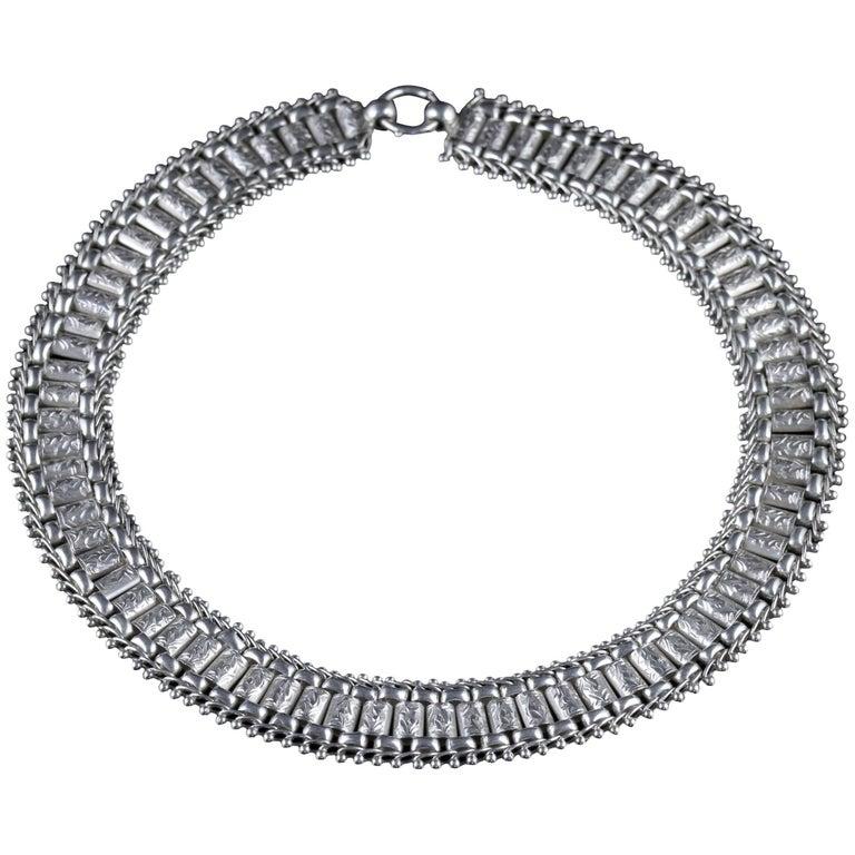 Antique Victorian Silver Collar Necklace, circa 1880