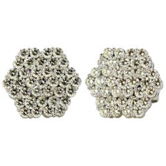 Vintage 18 Karat White Gold Ladies Stud Earrings with Diamonds