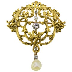 Art Nouveau 18 Karat Gold Brooch with Old Cut Diamonds and Freshwater Pearl