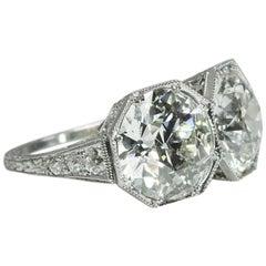 6.88 carat Old European Cut Diamond Edwardian Platinum Twin Ring