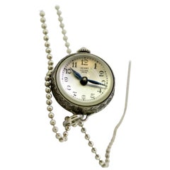 Bucherer Sterling Silver Manual Winding Chain Watch, circa 1950s