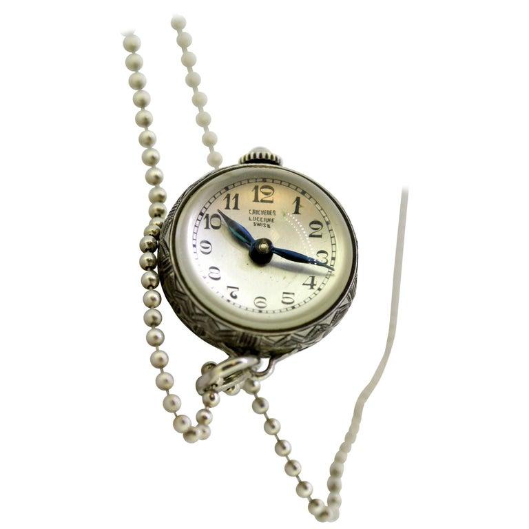 Bucherer Sterling Silver Manual Winding Chain Watch, circa 1950s