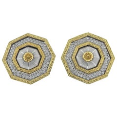 Buccellati Prestigio Diamond Octagon Gold Earrings