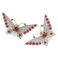 Pair of 1910s Diamond Ruby Pearl Platinum and Gold Butterfly Brooches