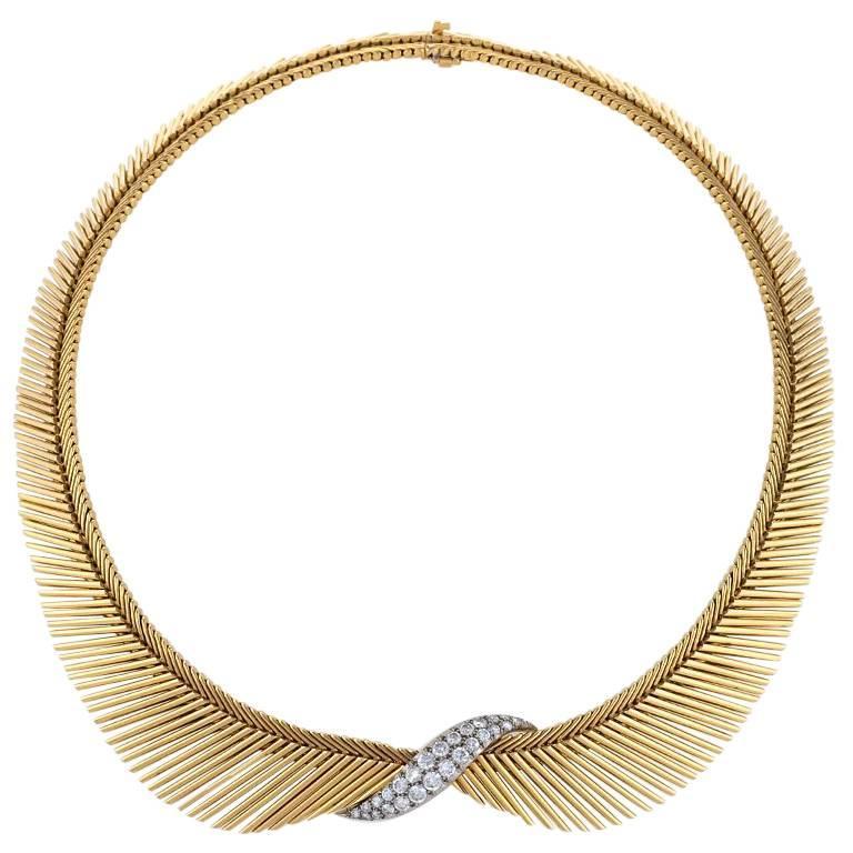 "Van Cleef & Arpels Diamond, Platinum and Gold ""Angel Hair"" Necklace"