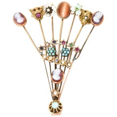 Victorian Stick Pin Collection Custom-Made Gold and Semi Precious Stone Brooch