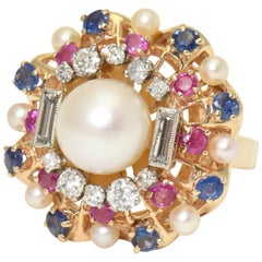 1950s Pearl, Diamond, Sapphire and Ruby Yellow Gold Starburst Cocktail Ring