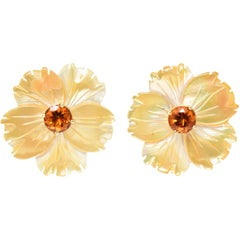 Mother-of-Pearl Jackets Citrine Stud Gold Earrings