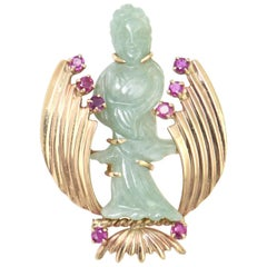 Retro Carved Jade Chinese Lady Standing Amid a Gold and Ruby Design