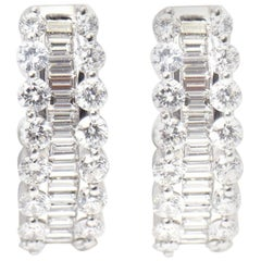 Diamond White Gold Hoop Earrings with Round and Baguette Diamonds