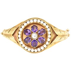 Victorian Amethyst, Pearl and Diamond Gold Floral Bangle Bracelet