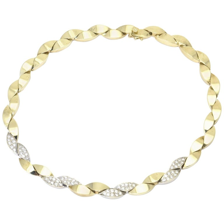Pave Diamond and Yellow Gold Leaf Link Necklace