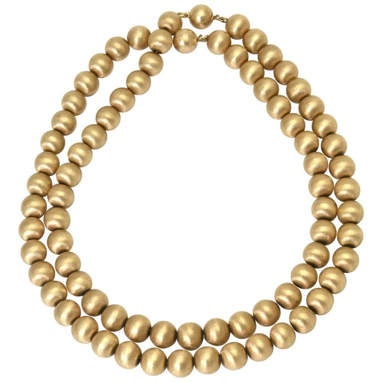 Double Strand of Florentine Finish Gold Bead Necklace