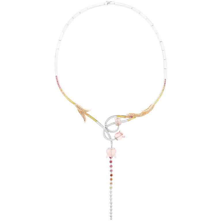 Muguet Necklace Rose Quartz and White Gold