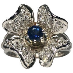 Vintage 1970s 14 Karat Sapphire and Diamond Flower Cocktail Ring