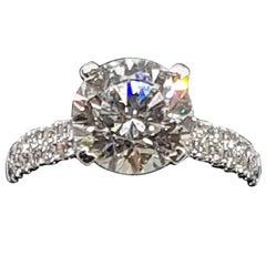 Solitaire 3.15 Carat H Color VVS1 Triple EX Diamond Ring IGI Certified