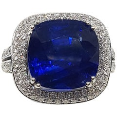 GIA Certified 11.81 Carat Natural Blue Sapphire Ring in Micro pave Setting