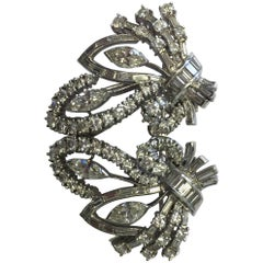 Estate Multi-Shape Diamond Brooch in Platinum