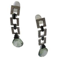 Green Quartz and Diamond Dangle Earrings