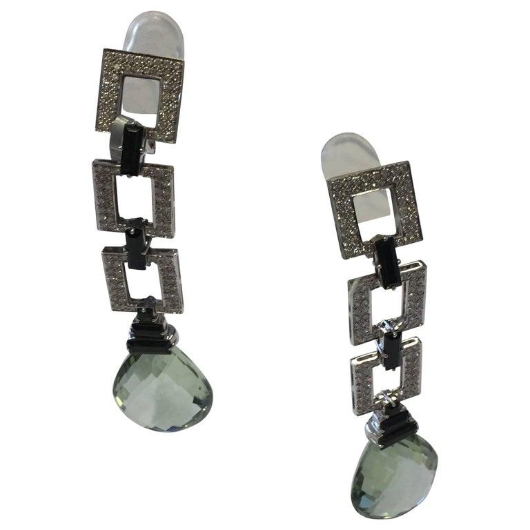 Green Quartz and Diamond Dangle Earrings