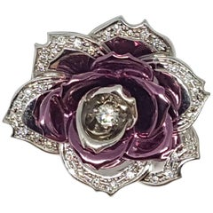 Flower Brooch/Pendant With Purple Enameled White Gold